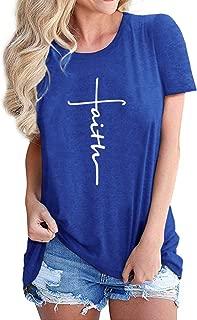 Nlife Women Cross Faith T-Shirt Letter Print T-Shirt Summer Tee Faith Tshirt