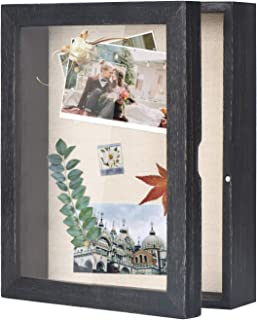 Love-KANKEI Shadow Box Frame 8x10 Shadow Box Display Case with Linen Back Memorabilia Awards Medals Photos Memory Box Black