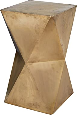 "Dimond Home Faceted Stool with Brass Cladding, 14"" x 14"" x 24"", Gold"
