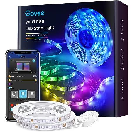 Govee Tiras LED WiFi 10m, Tira Luces LED RGB Inteligente con Control App, Funciona con Alexa y Google Asistente, Modo Música para Habitación, 2 rollos 5m