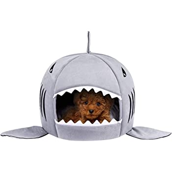 TORDES Dog Bed Washable Shark Cat Bed Covered Cave House for Small Pets up to 12lbs with Removable Cushion and Water Resistant Bottom (Grey, Blue, Pink)