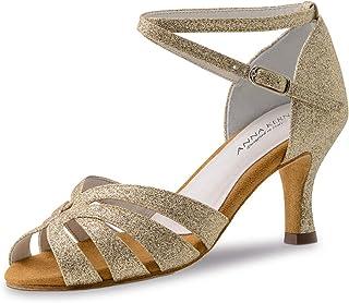 Anna Kern - Femmes Chaussures de Danse 750-60 - Brocart Or - 6 cm Flare