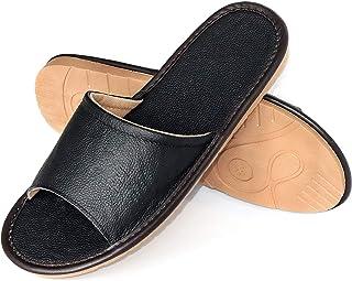 Malaxlx Chaussons Cuir pour Homme Pantoufle Chaussons d'Intérieur Confortable Bout Ouvert Chaussures à Enfiler