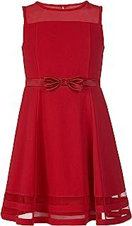 Size 2T-6X A-Line Dress 34 Quarter Bell Sleeves Knee Length Little Girls Quatrefoil Dress Pink Geometric Print