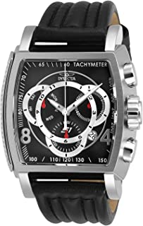 Men's S1 Rally Stainless Steel Quartz Watch with Leather Strap, Black, 26 (Model: 27936)