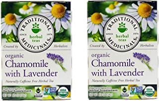Pack of 2 x Traditional Medicinals Organic Chamomile with Lavender Herbal Tea - 16 Tea Bags