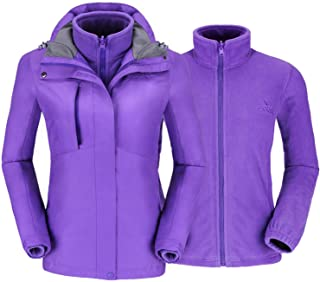 CAMELSPORTS Women's Ski Jacket for Winter 3 in 1 Waterproof Windproof Snow Hooded Jacket with Warm Fleece Liner Jacket - Purple - 3X-Large