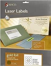 MACO Laser Gold Foil Notarial and Certificate Labels, 2-1/2 Inches in Diameter, 12 Per Sheet, 300 Per Pack (ML-7850)