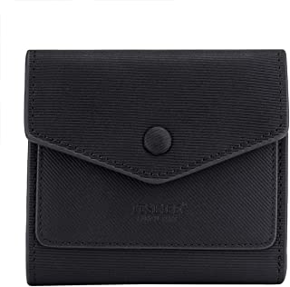 Small Leather Wallet for Women, RFID Blocking Women's Credit Card Holder Mini Bifold Purse Pocket (Stripe Black)