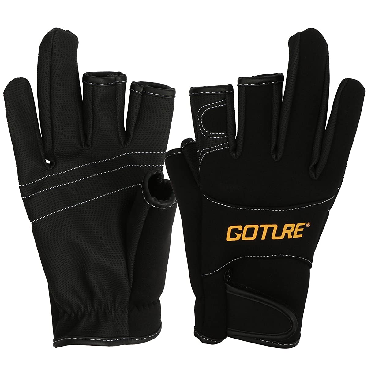 Goture Anti-Slip Fishing Gloves for Men Water Resistant Skidproof 3 Fingerless Outdoor Sports