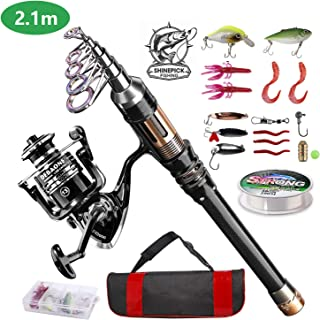 ShinePick Fishing Rod Kit, Telescopic Fishing Pole and Reel Combo Full Kit with Line Lures Hooks Carrier Bag for Travel Sa...