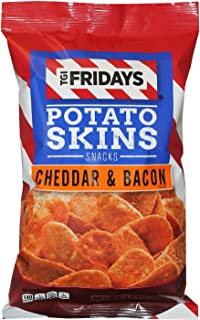TGI Fridays Potato Skins Snack Chips- 5.5 oz. Bags (Cheddar & Bacon, 4 Bags)