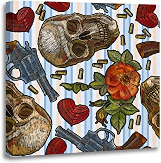 Semtomn Canvas Wall Art Print Skull Heart Guns and Roses Romantic in Blue Strip Artwork for Home Decor 12 x 12 Inches