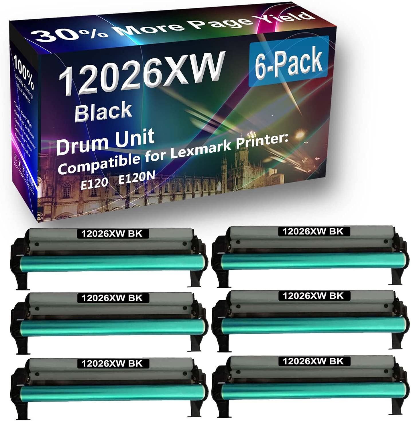 6-Pack (Black) Compatible E120 E120N Printer Drum Unit Replacement for Lexmark 12026XW Drum Kit