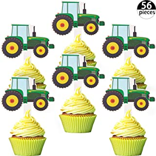 Blulu 56 Pieces Green Tractor Cupcake Toppers Truck Cars Cupcake Picks Construction Party Cupcake Toppers for Baby Shower Farm Themed Parties Tractor Time Party Supplies