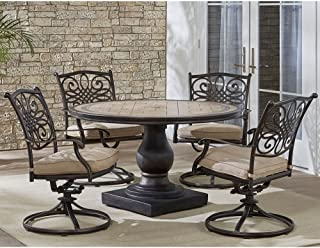 Hanover MONDN5PCSW-4 Monaco 5-Piece Rust-Free Aluminum Patio Dining Set Outdoor Furniture, Tan
