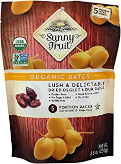 Sunny Fruit Organic Pitted Dates, 250g ,(Pack of 5)