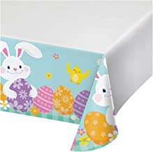 """Creative Converting Funny Bunny Easter Paper Tablecloth, 54"""" x 102"""", Multicolor"""