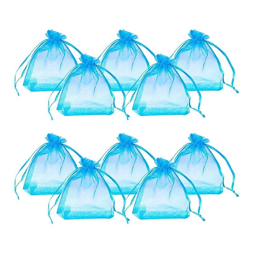 PandaHall Elite 100 Pcs Blue Organza Drawstring Gift Pouch Wrap Favor Bag for Party Wedding 4x3''