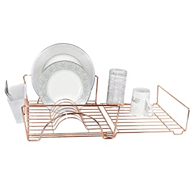 Smart Design Expandable Dish Drainer Rack w/Cutlery Cup - Steel Metal Frame - Fits in Standard Sinks - Dishes, Cups, Silverware Organization - Kitchen (13.5 x 20.63 Inch) [Rose Gold]