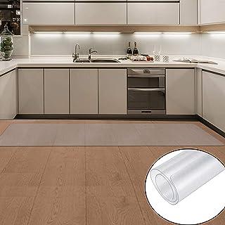 キッチンマット 透明 床マット PVC 台所マット クリアマット 60x240mm 滑り止めマット 厚さ1.5mmソフト 撥水 おしゃれ 汚れ防止 お手入れ簡単 床暖房対応