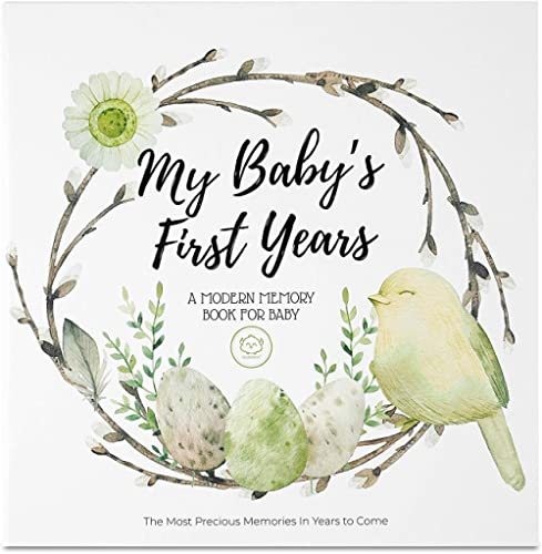 Baby First 5 Years Memory Book Journal - 90 Pages Hardcover First Year Keepsake Milestone Newborn Journal for Boys, G...