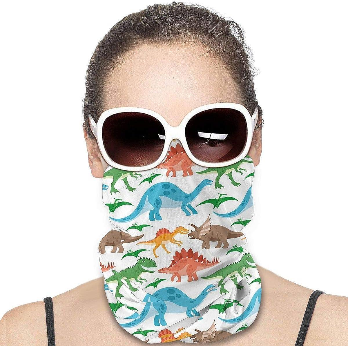 KiuLoam Women Bandanas Face Mask, Colorful Dinosaurs Animal Neck Gaiter Mask Headband for Men Face Scarf Dust, Outdoors, Sports