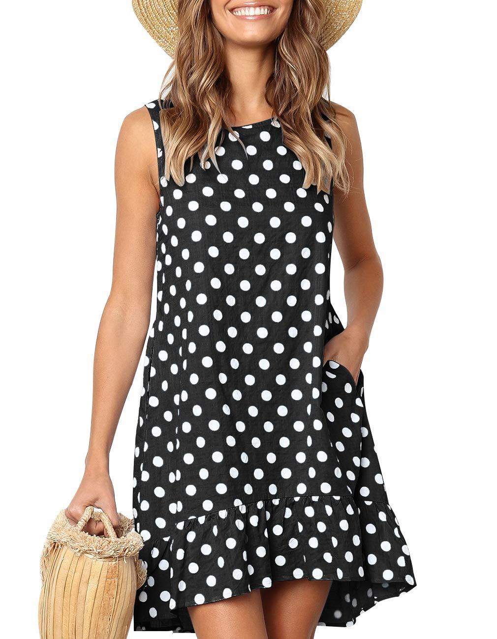 Women's Sleeveless Swing T-Shirt Dress Casual Loose Ruffle Polka Dot Printed Sundress with Pockets (Black, XL)