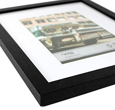 """CAVEPOP 8x10 Black Picture Frame with Mat Set of 5, Made to Display 8x10"""" Without Mat, 5x7 with Mat - Large Wall Hanging Phot"""