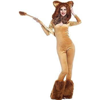 Disfraz de león sexy para mujer, mono con capucha, piel sintética ...