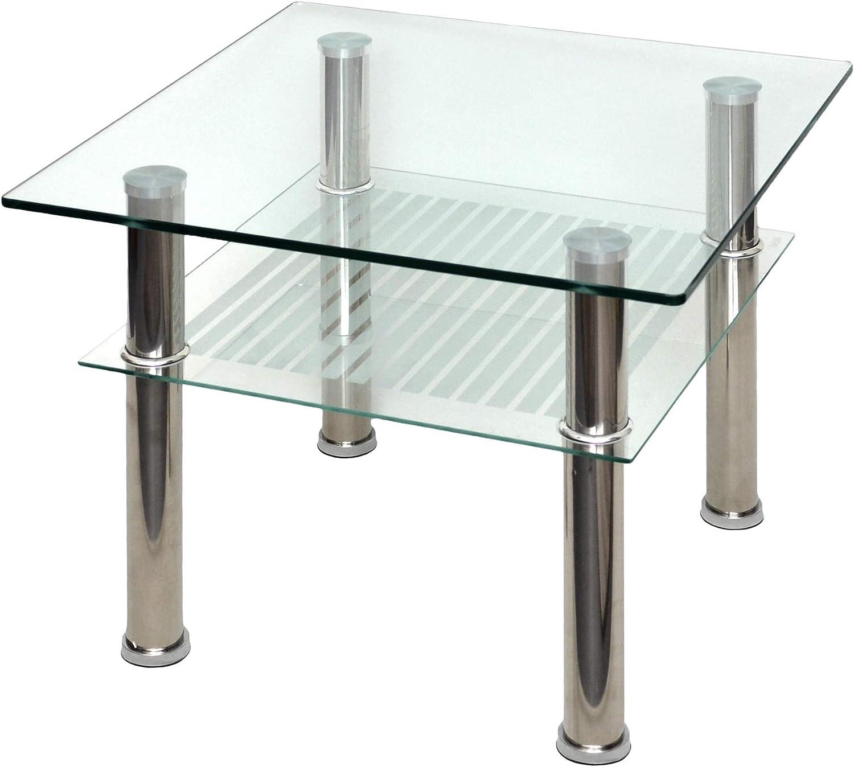lo último Ts-ideen Mesa de Cristal 60x 60x 60x 60cm Auxiliar–Mesa Mesa de Acero Inoxidable con Vidrio de Seguridad Templado de 10mm  autorización