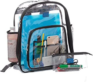 Clear Backpacks for School, Transparent Plastic Backpack for Travel, Clear Bag for Work with Pockets and Adjustable Padded...