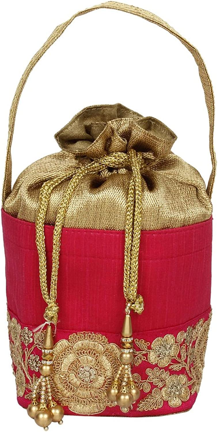{ Extra 10% Discount } Purse Collection Stylish Drawstring Red Colour Potlli With Embroidery Work Purse For Women's