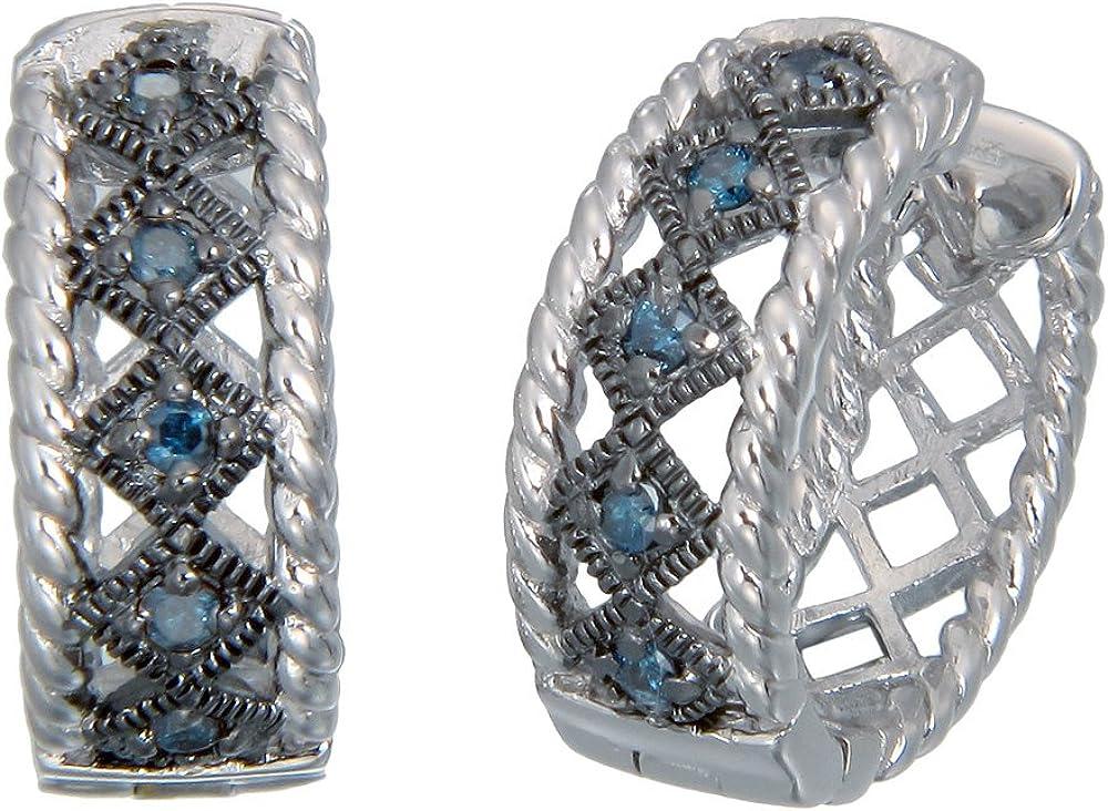 Vir sold out Jewels 1 4 cttw Blue .925 Low price Sterling Diamond Sil Earrings Hoop