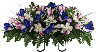 Sympathy Silks Artificial Cemetery Flowers – Realistic Vibrant Tulips, Outdoor Grave Decorations - Non-Bleed Colors, and Easy Fit - Cream Pink Tulip Saddle