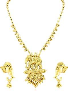 Sukkhi Bahubali Matte Finished Gold Plated Wedding Jewellery Long Haram Necklace Set For Women (N71788GLDPV1450_D4)