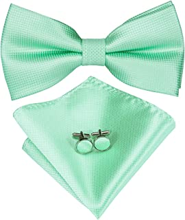 Mens Silk Bow Tie and Pocket Square Set for Wedding Tuxedo