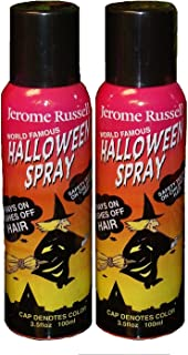 Jerome Russell Halloween Temporary Hair Color Spray - BLACK - Two Pack - Sprays In -Washes Out 2 x 3.5 fl oz