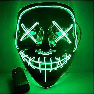 TK Gruppe Timo Klingler Maschera horror a LED - come da Purge incl. 3 effetti di luce, controllabili, per Halloween, Mardi...