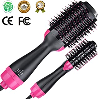 Volumizer Hair Dryer & Hot Air Brush & Curly Hair Comb 3 in 1 with Straightening, Curling, Fast Drying, using Negative Ion to protect hair and skin, for Home and Salon & Valentine's Day present.