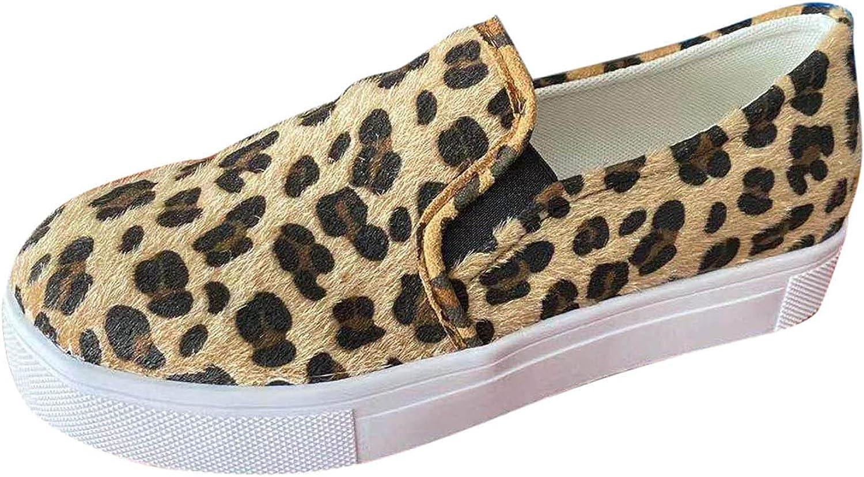 Leopard Print Platform Flat Shoes Women's Vintage Low Top Slip On Canvas Sneakers Female Large Size Casual Shoes