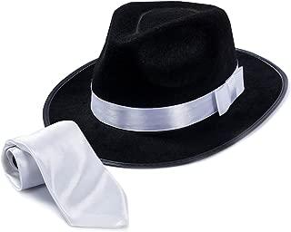 Fedora Gangster Hat - Mobster Costume - Felt Hat & White Neck Tie - (2 Pc Set) Fedora Hat