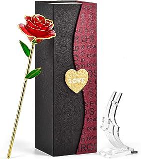 FORGIFTING Rosa Eterna, Flor Rosa de Oro de 24K - Regalos Originales para Mujer Mama Ella Madre Novia en San Valentín, Sant Jordi, Día de la Madre, Aniversario, Boda, Cumpleaños (Rosa Roja+Soporte)
