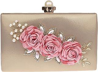 d6286aca46 KELAND Sac de soirée pour femme en satin à fleurs avec pochette de mariage