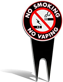 No Smoking or Vaping Sign for Yard - All in One Easy Installation Lawn Sign - Thick Weather Resistant Metal - Highly Visible Smoke/Vape Sign - - 7.5 X 15 Inches