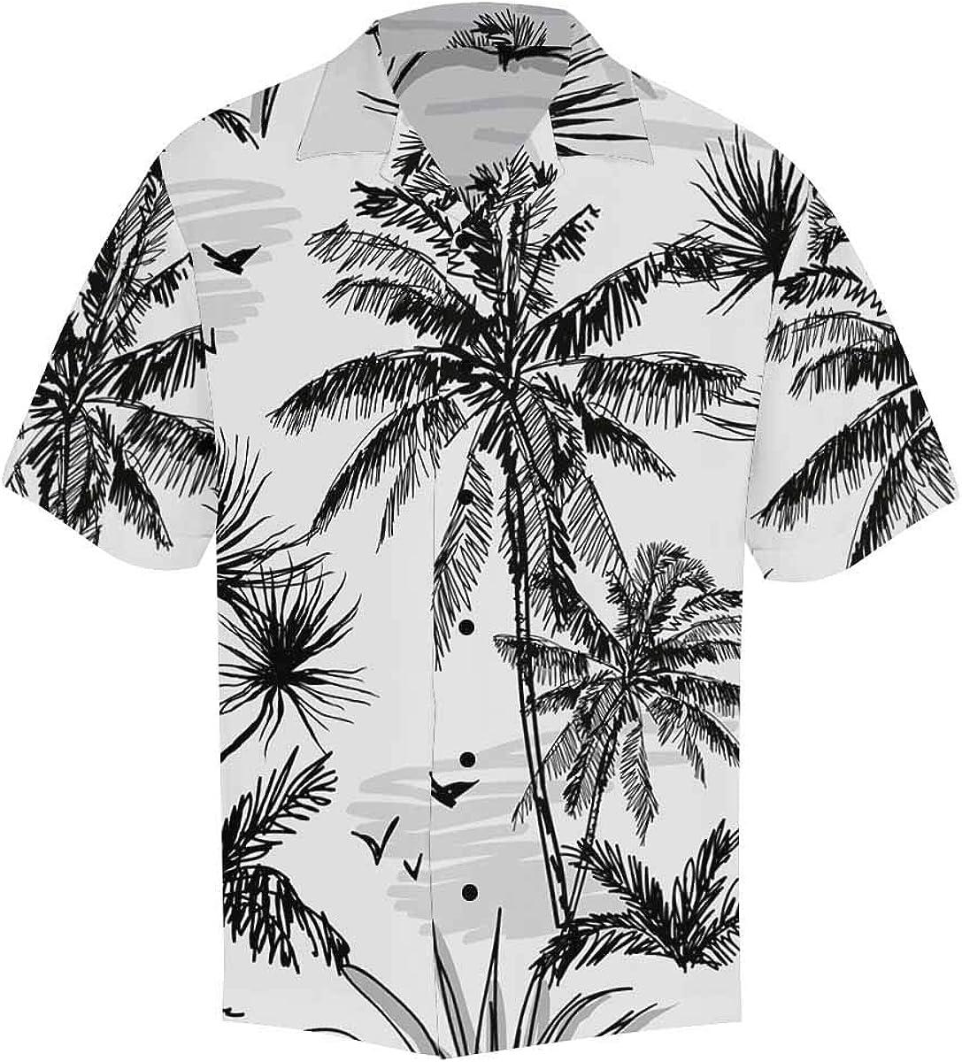 InterestPrint Men's Casual Button Down Short Sleeve Rainbow Hearts Hawaiian Shirt (S-5XL)