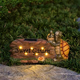 ExcMark Garden Yard Statues Turtle Figurine with Solar Lights for Garden Decorations Outdoor, Lawn Animals Statues and Gardening Housewarming Gifts with Solar Animals. 12.6x7.1''