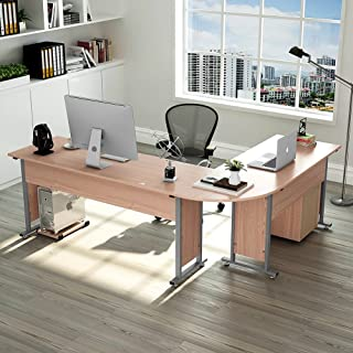 Tribesigns 83 Inche Modern L-Shaped Desk with File Cabinet, L Shapes Computer Desk Study Table Super Sturdy Workstation for Home Office with Drawers, Oak