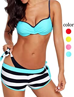 9fee331976 3 Piece Womens Bikini Swimsuits with Shorts Sexy Padded Push Up Halter  Swimwear Beach Bathing Suit