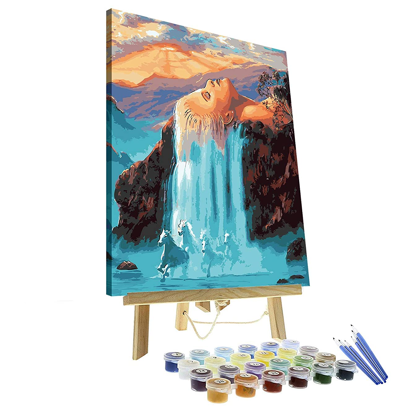 DIY Oil Painting Paint by Numbers Kit for Adults Kids Beginner - Waterfall Surreal Art 12